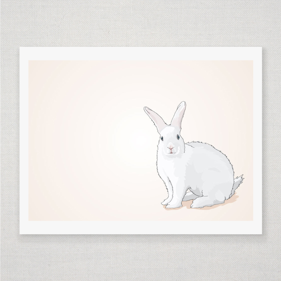 spring easter bunny rabbit on peach illustrated print 8 x 10