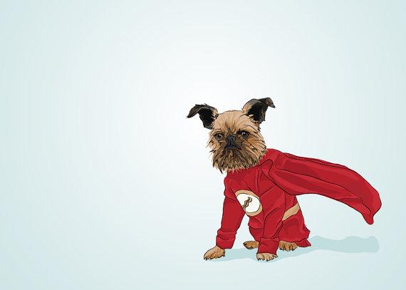 Baconman - Digby Van Winkle Griffon Dog Portrait - Blue Illustrated Print - 5 x 7 Archival Matte